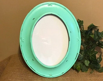 Mint Green Oval Picture Frame; Mint Green Picture Frame;  Shabby Chic Mint Green Picture Frame; Oval Picture Frame