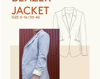 womens blazer jacket PDF sewing pattern|sewing patterns blazer jacket PDF|womens jacket PDF sewing pattern|womens jacket sewing pattern