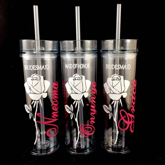 Bridesmaid Gift Skinny Tumbler With Rose Personalized Water