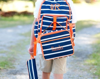 Monogrammed Backpack and Lunchbox Set, Boys Monogrammed Backpack, Boys monogrammed Lunchbox, Personalized Backpack and lunchbox set