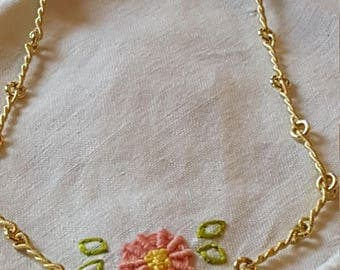 Vintage 18k yellow gold necklace Italian made in 16 inch weighing 8.6g