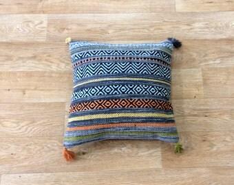 Handmade Blue Orange Moroccan Tunisian Turkish Kilim Pillow Cushion Cover