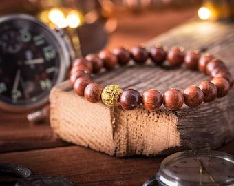 8mm - Wood beaded stretchy bracelet with gold bead, wooden bracelet, natural bracelet, friendship bracelet, yoga bracelet, beaded bracelet