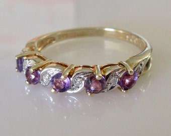 9ct Gold Amethyst and Diamond Swirl Ring
