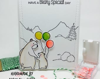 Handmade Card - Bears - Birthday Card - Special Day - Minimalist