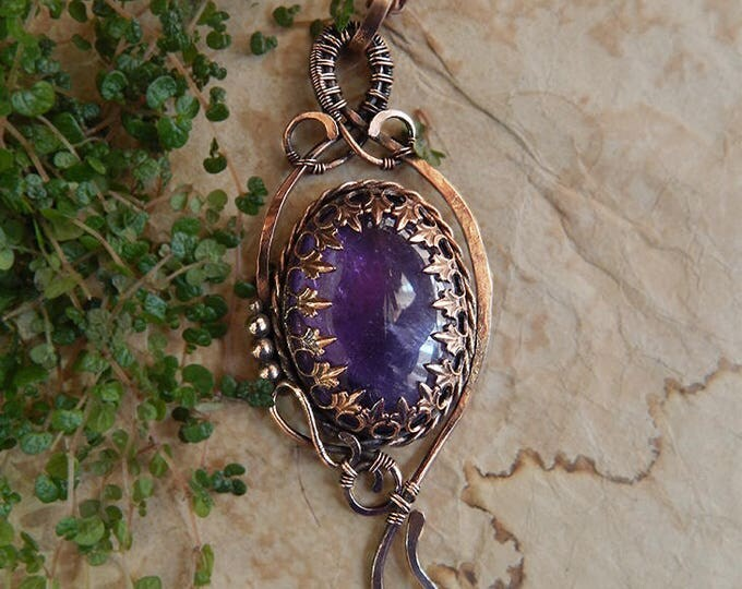 Amethyst pendant, Copper wire wrap, Romantic gift for her Saint Valentine, Boho style, Natural stone Ooak, Birthstone
