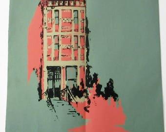 Rare Vintage 1969 Pop Art Screen Print Philadelphia Building by Carolyn Fiedler Alber Screenprint Signed Pink Blue Architecture Modern Art