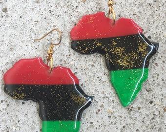 Red, Black, Green Africa Earrings
