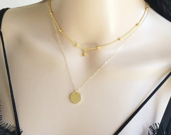 Gold Disc Layering, Disc Necklace, Disc Layer Necklace, Satellite Layer Necklace, Dainty Layer Necklace, Delicate Layer Necklace, Layering