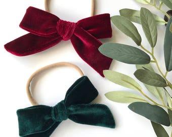 Maroon or Pine Green Velvet // Hand Tied, Schoolgirl, Velvet Bow