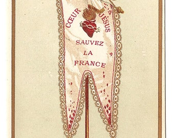 Sacred Heart of Jesus Save France Banner Antique French Holy Prayer Card, Goldprint, Catholic Gift