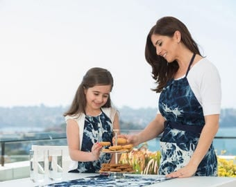 Shibori - Shibori Apron - Women's Apron - Kids Apron - Mother and Daughter Apron - Mom and Me Apron