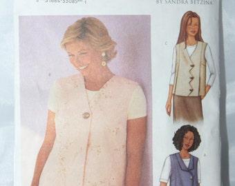 Butterick 3016 Plus Size Vests -- Size 46 49 52 55 Bust -- Sandra Betzina -- Facings, Misses, Variations -- Today's Fit -- Uncut