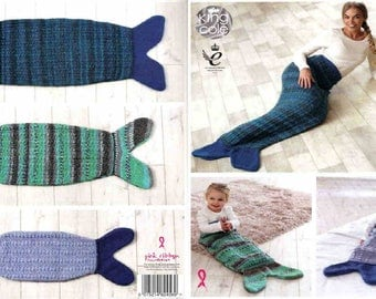 King Cole Knitting Pattern 4865~Mermaid Tail Snuggle Blankets~Chunky~Baby to Adult