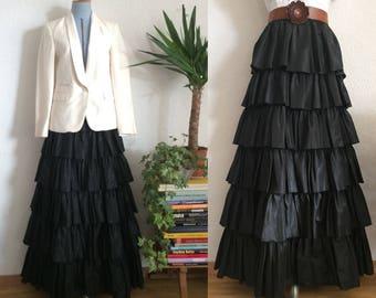 Vintage Louis Féraud Silk Taffeta Long Ruffled Gown Black Skirt