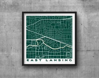 EAST LANSING Michigan State University Spartans Team Colors City Map Giclee Fine Art Print Abstract Modern Wall Art Gift Home Office Sparty