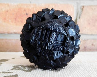 Carved solid black ebony wood small round box, pierced lid, pomander, 1940s
