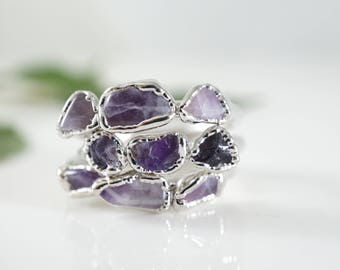 Raw Amethyst Ring • Raw Crystal Ring • February Birthstone • Bridesmaids Gift • Raw Stone Ring • Rings for Women • Gift for Mom • Jewelry
