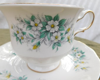 Queen Anne Vintage Tea Cup & Saucer Petite White flowers Green Foliage Gold Trim