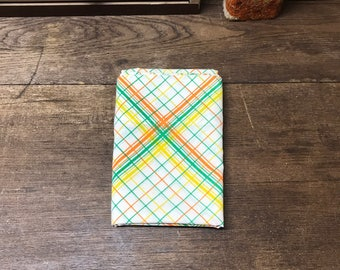 Vintage Pillowcase Retro Muslin Orange Yellow Green Criss Cross Tastemaker