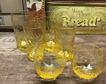 Vintage Amber Glassess Tumblers Cups Set of 6 Anchor Hocking