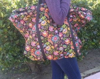 QUILTED BIG TOTE,Lightweight,Matching Pouch,Quilted Print Fabric