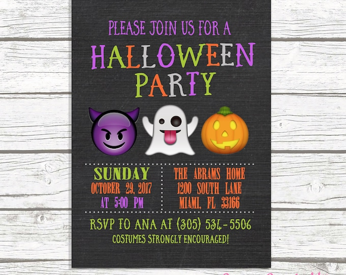 Kids Halloween Party Invitation, Emoji Party Invitation, Kids Halloween Party Invitation, Kids Costume Party Invitation, Emoji Invitation