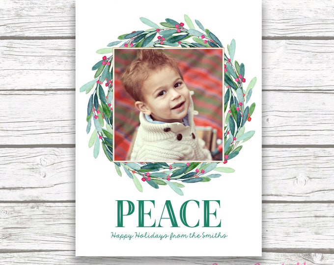 Christmas Photo Card, Wreath Christmas Photo Card, Holly Christmas Card, Peace Holiday Card, Leaves Christmas Card, Greenery Christmas Card