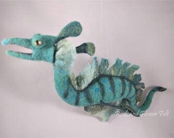 Needle Felted Hanging Sculpture, Sea Dragon