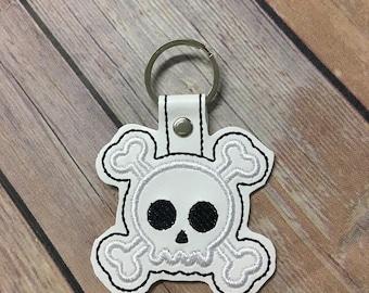 Skull and Crossbones, Jolly Roger Skull Embroidered Keychain, Key chain, KeyFob, Snaptab