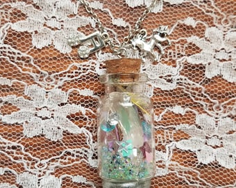Party in a Bottle - Confetti and Crystals in a Bottle Necklace