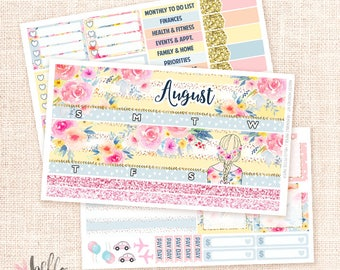 August Monthly View Sticker Kit - 3 sheets MATTE REMOVABLE paper / for the Vertical Erin Condren