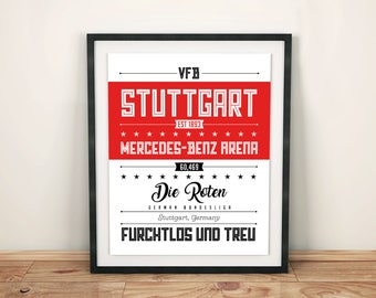 VFB Stuttgart Poster; Typographic Football Team Print