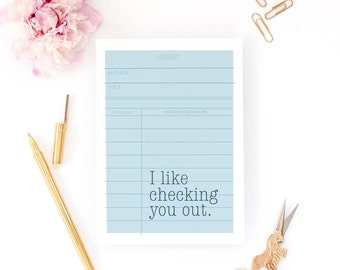 Funny Valentine Card - Checking You Out - Bookish, Library Card, Anniversary Card, Love Card, Girlfriend Card, Book Nerd, Book Gift, Husband
