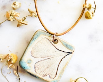 Ceramic Ginkgo Leaf Pendant Necklace