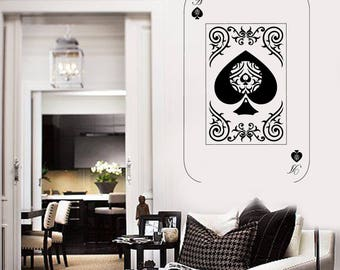 Wall Vinyl Decal Playing Cards Deck Ace of Spades Poker Play Room and Casino Decor (#2687dn)