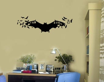 Bats Vinyl Wall Decal Halloween Scary Room Decoration Idea Stickers Mural (#2656di)