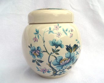 "Sadler Ginger Jar, Tea Caddy, Mid Century 1940's Handpainted Transferware, Imari Style Blue Lotus or Peony, 5.5"", Immaculate Condition"
