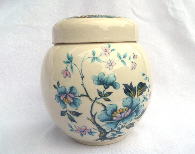 "FREE SHIPPING Sadler Ginger Jar, Tea Caddy, Mid Century 1940's Handpainted Transferware, Imari Style Blue Lotus or Peony, 5.5"", Immaculate"