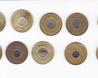 Ten 1986 bullseye nyc new york city subway transit tokens