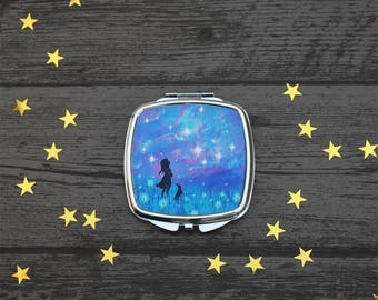 Make a wish, Compact Mirror, dandelion wishes,Stars and Dandelions, Fantasy Art, girls gift, UK Seller.