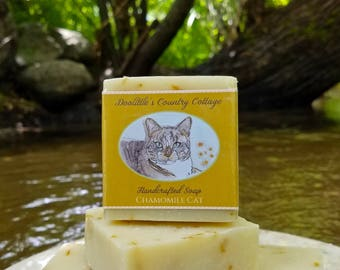 "Soap - ""Chamomile Cat"" - Animal Soap, Chamomile Soap, Handmade Soap, Cat Soap, Cold Process Soap, Country Soap"