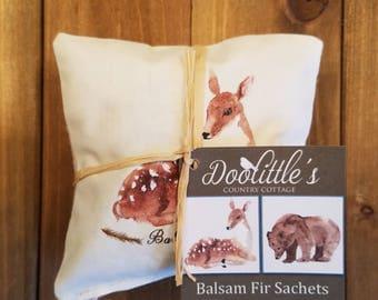 Sachet - Balsam Fir Sachets- 2 Bear Sachets, Rustic Decor, Bear Decor, Fragrant Pillow, Sachet, Scented Pillow, Fawn & Bear,  Mini Pillow