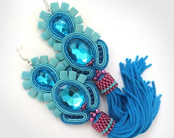 Turquoise Tassel Earrings, Long Clip-On Earrings, soutache Earrings, Unique Earrings, Fringe Earrings, Statement Earrings