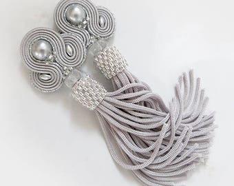 Gray Tassel Earrings Long Clip-On Earrings soutache Earrings Unique  Earrings Fringe Earrings Statement Earrings oscar earrings