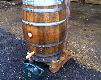 Wine Barrel Water Butt - With Brass Tap, Lift Off Lid, Rainwater Diverter, Raised Blocks and Downpipe