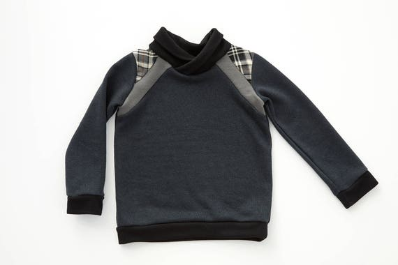 STELLAIRE - long-sleeves sweater with shawl collar, baseball shirt, pull for kids: boys - navy