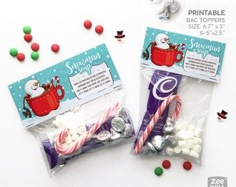 Snowman soup bag topper, Christmas bag topper, Christmas gift bag topper, Snowman, PRINTABLE, Digital, favour bag topper