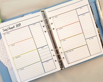 A5 Week on 2 Pages Printed Planner Inserts    weekly planner refill   A5 Wo2P inserts   printed planner inserts    for large Kikki K Filofax