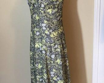 Vintage Metallic Evening Dress, 1970s A Line Evening Dress, Green, Tan and Yellow Floral Dress